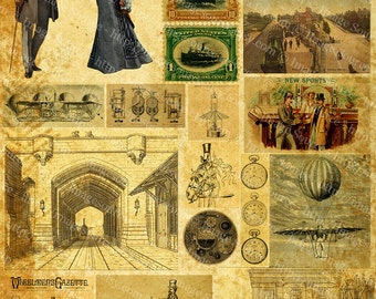 Grunge Steampunk Sampler Clipart, Digital Collage Sheet, Steampunk Elements and Grunge Background, Instant Printable Download