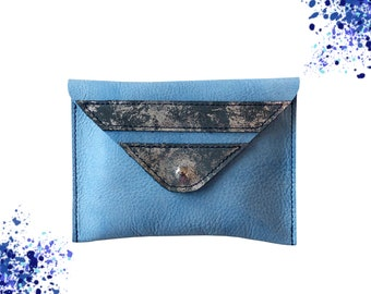 Cover-leather wallet / / blue