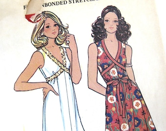 Vintage 70s Sewing Pattern /  McCalls 3476 / Misses Sleeveless Grecian Tied Dress for Knits
