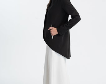 NEW Designer Jacket / Black Blazer / Dip Hem Jacket / Asymmetric Jacket / Formal Jacket / Spring Outerwear / Marcellamoda - MC1035