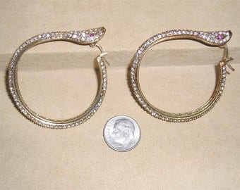 Vintage Signed Noir/cn Egyptian Rhinestone Snake Hoop Earrings 1980's Pierced Jewelry 11168