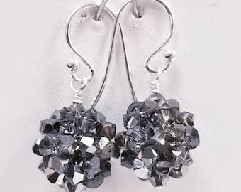 Silver night, Swarovski, Crystal Ball, woven, Sterling silver, earrings, Silver, Metallic, Special effect