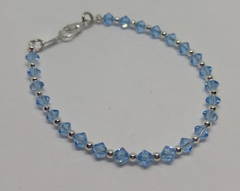 Aquamarine Swarovski Crystal Bracelet (March Birthstone)