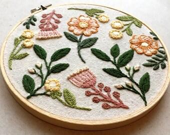Vintage florals Embroidery Hoop