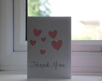Thank you card handmade -love hearts - can be customised - high quality - perfect gift - * fast shipping