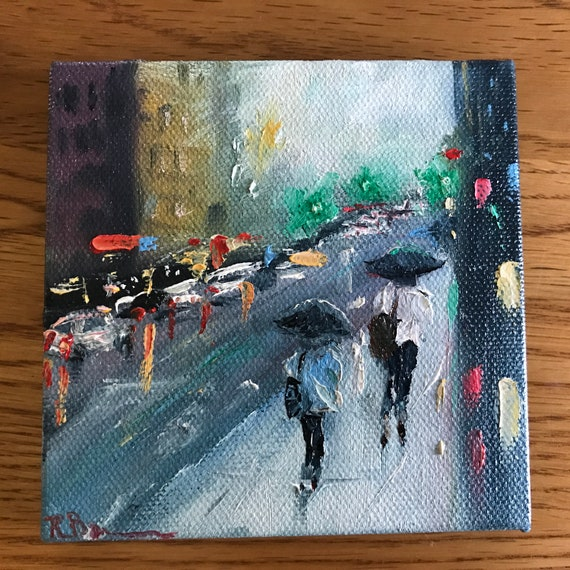 Rainy Painting with Easel, Tiny Painting, Umbrella Art, Landscape Painting, Miniatures