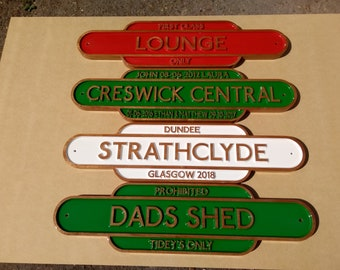 Railway Totem Station Sign, Personalised Wood Sign, Old Train Sign, Platform sign, old railway sign, wall art wood