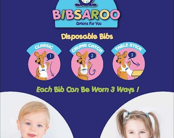 Bibsaroo Disposable Bibs, Travel Easy, 6m-4yrs 20/Pack, 3 Style Options in 1 Bib