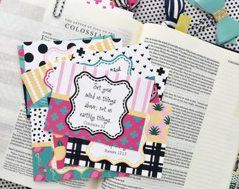 Scripture Cards, Bible Journaling Cards, Planner Cards, Scripture Memory Cards, Bible Verse Cards, summer themed scripture cards