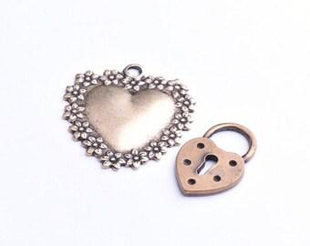 Heart and a Heart with a key hole, 3pc each