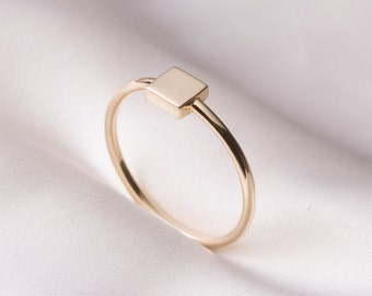 Handmade minimal 14k solid gold ring, 14k gold Rectangle ring, Rose gold ring, Simple ring, Stackable Ring, engagement ring, statement ring