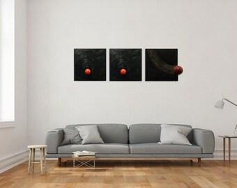 Triptych, ball, change, metamorphosis