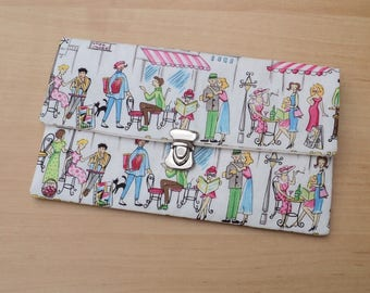 """Clutch purse with flap """"cats in Paris"""" 1"""