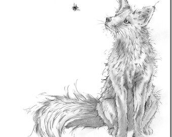 Fox and Bee Greeting Card - Animal Card, Blank Inside, Woodland