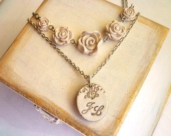 Bride Necklace - Custom Bridal Jewelry - Vintage Inspired Bride Necklace - Shabby Chic Wedding