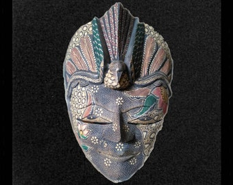Detailed Vintage Indonesian Paper Mache Mask with Bird Headdress