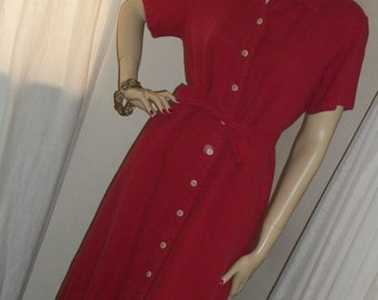 Vintage 1930s Style Red Linen Day Dress Secretary Size Med 8/10/12 Great Cond Vintage 1980s