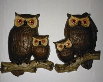 "2 pcs Vintage 1977 Burwood Products Company Owl hard plastic Wall Decor 14""x 11"""
