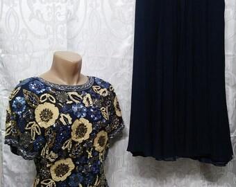 Vintage Oleg Cassini Black Tie Beaded Sequin Blouse Sz.L Silk Skirt Sz.14 Women's Suit 2 piece Formal Wear