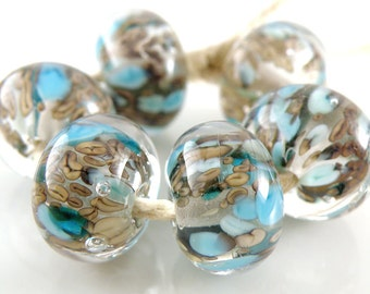 Victoria Encased SRA Lampwork Handmade Artisan Glass Donut/Round Beads Made to Order Set of 6 10x15mm