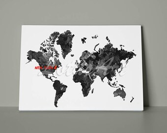 Canvas Black World Map Watercolor Print Pin Your Favorite Place World Map Wall Art Home Decor Map Print