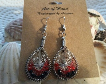 Red and White String Art Earrings