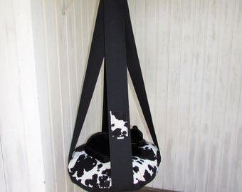 Cat Bed, Velour Black & White Cow Print, Single Kitty Cloud, Hanging Cat Bed, Pet Furniture, Cat Gift, Cat Tree