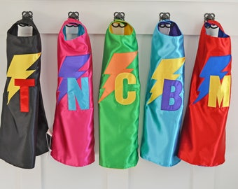 Personalized Boys and Girls Superhero Capes, Custom Superhero Cape, Kids Cape, Superhero Capes with Initial, Superhero Birthday Party