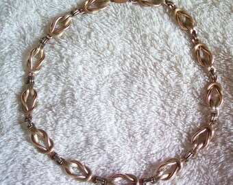 Vintage Square Knot Necklace - Rose and Yellow Gold Filled 12/20 12K - Choker - 15 inches