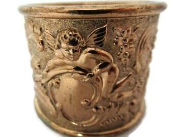 Vintage Cherubs Napkin Ring, Brass Figural Napkin Ring with Ornate Art Nouveau Design