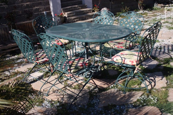 Vintage Woodard Patio Set, Salterini Collection, Oval Table And 6 Rocking  Chairs (2 Of Them Also Swivel), Wrought Iron Patio Furniture
