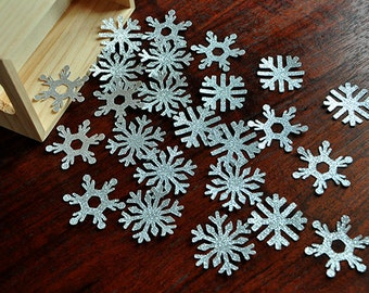 Snowflake Confetti 25CT.  Handcrafted in 2-5 Business Days.  Glitter Silver Snowflake Birthday.