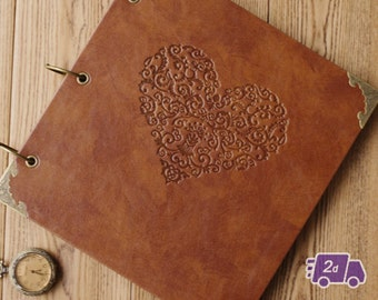 Love Heart - Engraved Expandable PU Leather Scrapbook DIY Photo Album for Weddings, Engagement, Anniversary