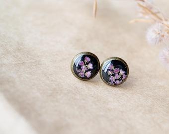 Nature resin jewelry Terrarium jewelry Botanical resin jewelry Bridesmaid earrings  Real flower jewelry Bridesmaid flower earrings