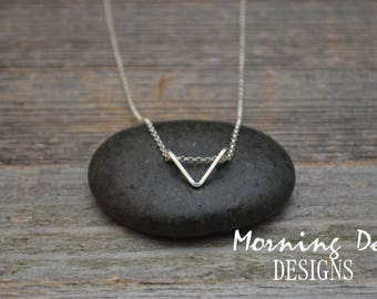 Sterling Silver Triangle Necklace - Modern - Simple - Sleek