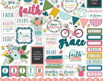 Have Faith - 12 x 12 Cardstock Sticker Sheet - by Echo Park Paper Co. - Perfect for Bible Journaling!