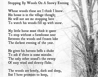 Stopping by Woods, Robert Frost Poetry Art Print, Promises to Keep, Winter Wall Art Print, Farmhouse Style Decor, Black White Photo