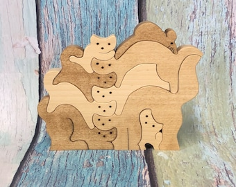 Wooden Puzzle Cats Jigsaw Puzzle Wood Puzzle  Zoo Animal Kids Puzzle Wooden Toy Wood Toy Baby Puzzle Baby Shower Gift Nursery Gift Kittens