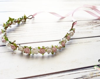 Handcrafted White and Pastel Pink Flower Crown - Spring Wedding Accessory - Flower Girl Halo - Light Pink Bridesmaid - Rose Woodland Halo