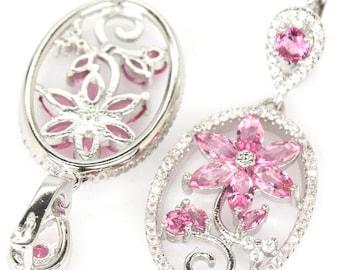Sterling Silver Pink Tourmaline Gemstone & AAA CZ Accents Drop Dangle Earrings