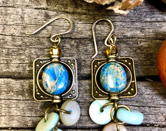 Dangle Blue Stone with antiqued gold