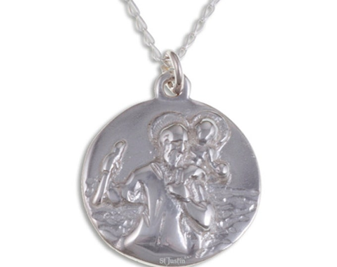 St Christopher pendant – Solid sterling silver pendant on sterling silver curb chain- Hand Made in UK