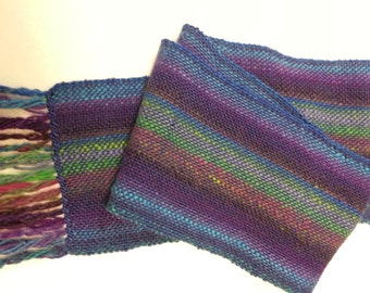 Hand Woven Scarf - Bright blue with multi-colored stripes -  Free Priority shipping