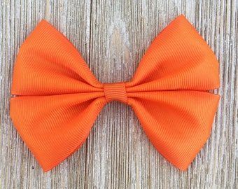 Orange Stacked Grosgrain Ribbon Hair Bow Clip , Back to School Everyday wear Hairbow