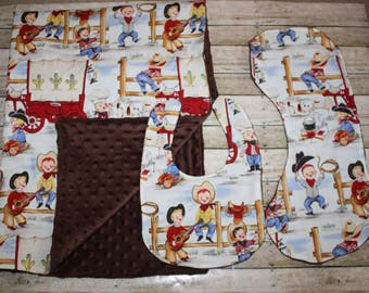 Cowboy Baby Blanket, Bib and Burp Cloth Set- Baby Boy Blanket, Bib and Burp Cloth Set-Nursery Blanket Set- Baby shower Gift- Baby Quilt