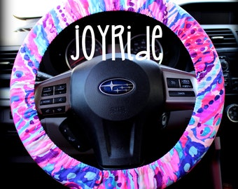 Steering Wheel Cover Lilly Pulitzer Colony Coral Shell Fabric Fully lined with Grip Tight Designer Car Accessories Coral For Girls Woman