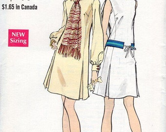 FREE US SHIP Vogue Sewing Pattern 7760 Vintage Retro 1960s 60s Dress and Neck Scarf Uncut Size 10 Bust 32.5 Uncut Like New Original Mod