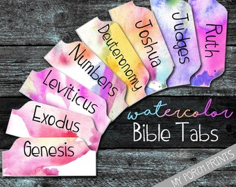 Bible Tabs, Bible tabs printable, bible tabs download, bible tabs watercolor, bible journal tabs, bible journaling printable, printable tabs