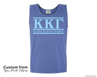 KKG Kappa Kappa Gamma Custom Comfort Colors Classic Sorority Tank