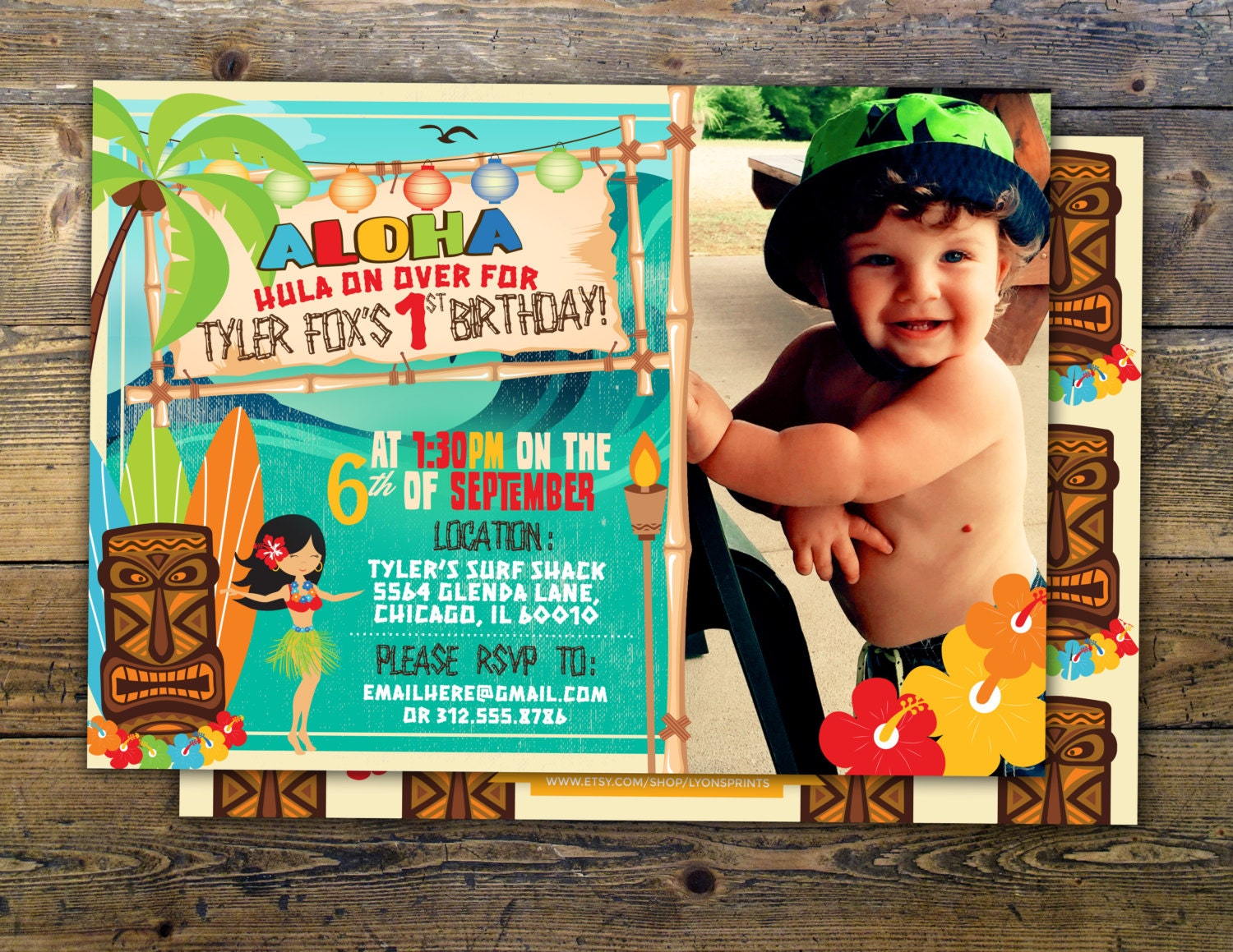 Tiki party, Hawaii invitation, Pool Party Invitation, surfer ...